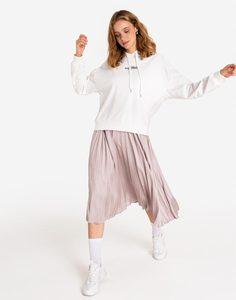 Молочное худи с надписью Gloria Jeans