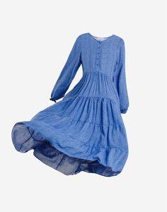Синее платье макси с цветочным принтом Gloria Jeans