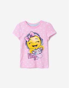 Розовая футболка в горох со смайликом для девочки Gloria Jeans