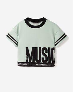 Мятная футболка с надписями для девочки Gloria Jeans