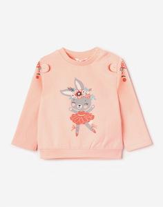 Розовый свитшот с принтом и ушками для малышки Gloria Jeans
