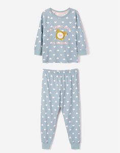 Голубая пижама с сердечками для девочки Gloria Jeans