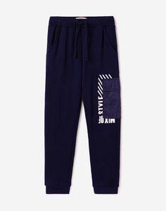 Синие спортивные брюки с карманом для мальчика Gloria Jeans