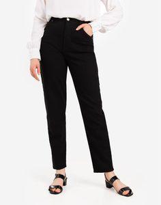 Чёрные зауженные джинсы Slim Tapered с высокой талией Gloria Jeans