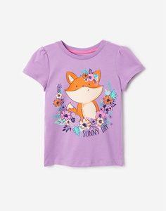 Сиреневая футболка с лисичкой для девочки Gloria Jeans