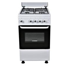 Газовая плита HYUNDAI RGG213, газовая духовка, металлическая крышка, белый