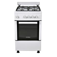 Газовая плита HYUNDAI RGG223, газовая духовка, металлическая крышка, белый