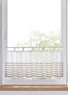 Короткие шторы Занавеска кухонная с атласными полосками (1 шт.) Bonprix