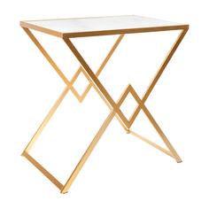 Столик с белым мрамором Glasar 58x38x59 см ГЛАСАР