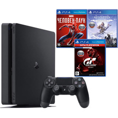 Игровая приставка Sony PlayStation 4 1 Tb + Horizon/Gran Turismo/Spider-Man/PS Plus (3 месяца)
