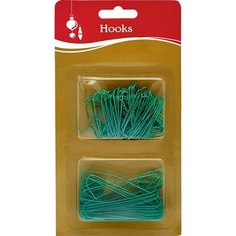Крючки для елочных игрушек зеленые 3.8, 6.3 см Без бренда