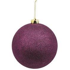 Елочное украшение Шар пластиковый фиолетовый 20 см Без бренда
