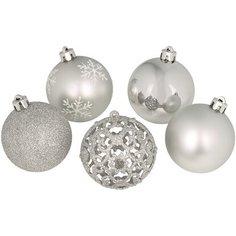 Набор елочных шаров 25 шт серебряный Без бренда