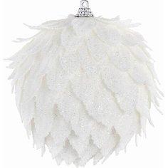 Набор елочных украшений Шары белый 3 шт 10 см Без бренда