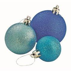 Набор елочных шаров в тубе синий, белый Без бренда
