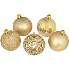 Набор елочных шаров 25 шт золотой Без бренда