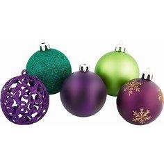 Набор елочных украшений Шар зеленый, фиолетовый 25 шт 6 см Без бренда