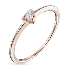 Кольцо из красного золота с бриллиантом э0201кц08200112 ЭПЛ Якутские Бриллианты
