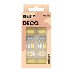 Набор накладных ногтей DE.CO. VACAY PARTY daisy story 24 шт + клеевые стикеры 24 шт Deco