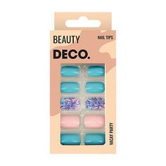 Набор накладных ногтей DE.CO. VACAY PARTY tropic story 24 шт + клеевые стикеры 24 шт Deco