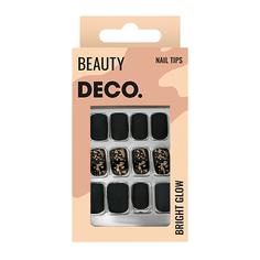 Набор накладных ногтей DE.CO. OMBRE black gold 24 шт + клеевые стикеры 24 шт Deco