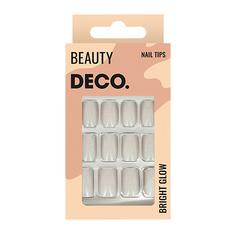 Набор накладных ногтей DE.CO. BRIGHT GLOW silver 24 шт + клеевые стикеры 24 шт Deco