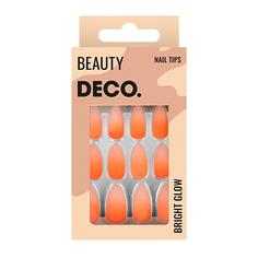 Набор накладных ногтей DE.CO. BRIGHT GLOW matt orange 24 шт + клеевые стикеры 24 шт Deco