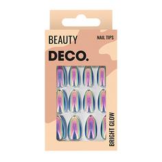 Набор накладных ногтей DE.CO. BRIGHT GLOW night sparkle 24 шт + клеевые стикеры 24 шт Deco
