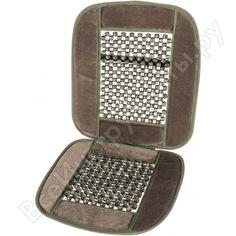 Накидка на сиденье - шариковый массажер серого цвета с велюровыми вставками autovirazh av-010023