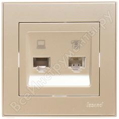 Розетка lezard rain компьютер+телефон жемчужно-белый металлик 703-3030-143