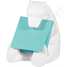 Диспенсер для z-стикеров post-it медведь + z-стикеры super sticky, 76х76 мм, 90 л., голубой неон pefc 7100137125