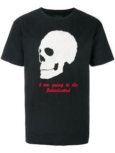 Intoxicated футболка с вышивкой черепа