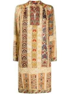 Etro полосатое платье с цветочным принтом