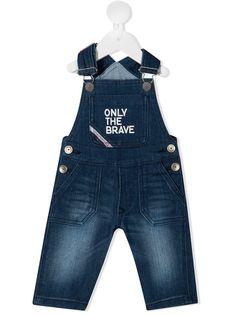Diesel Kids джинсовый комбинезон с принтом