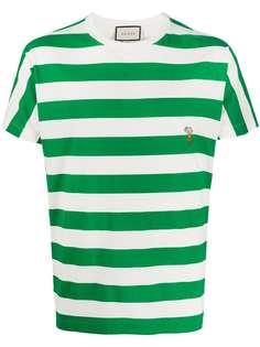 Gucci полосатая футболка с вышивкой