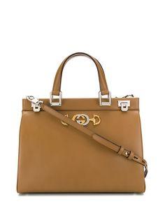 Gucci структурированная сумка-тоут с металлическим логотипом
