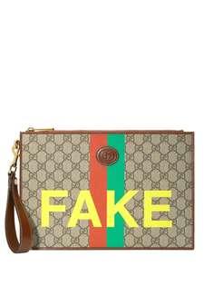 Gucci клатч с принтом Fake/Not