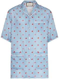 Gucci рубашка в клетку гингем с логотипом