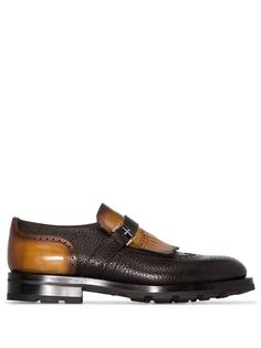 Santoni туфли монки с пряжками