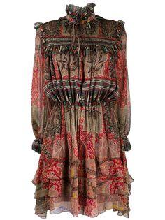 Etro платье со сборками и принтом