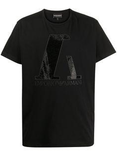Emporio Armani футболка с декорированным логотипом