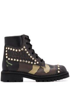 Moschino ботинки с заклепками и камуфляжным принтом