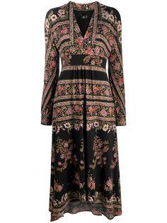 Etro платье с цветочным принтом и длинными рукавами