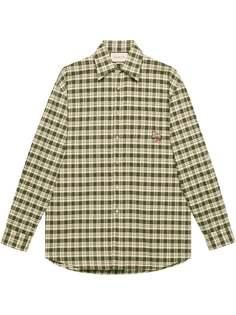 Gucci клетчатая рубашка с нашивкой