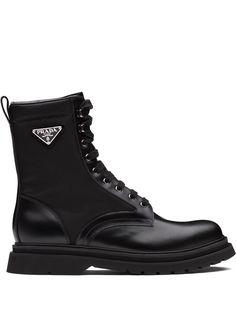 Prada высокие ботинки на шнуровке