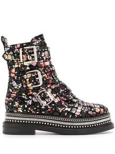 Casadei ботинки с тиснением под кожу крокодила и цветочным принтом