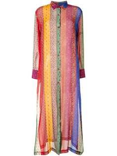 Etro платье-рубашка в стиле колор-блок с принтом пейсли