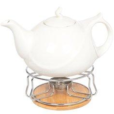 Чайник заварочный керамический на подставке, 1000 мл, Белый