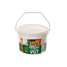 Краска водоэмульсионная VGT Белоснежная интерьерная и фасадная моющаяся белая, 3 кг