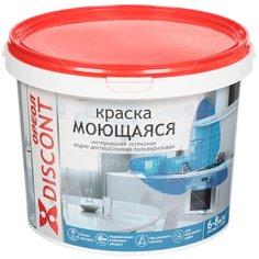 Краска водоэмульсионная Ореол Дисконт интерьерная моющаяся белая матовая, 1.5 кг